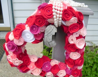 Pink and Red Felt Flower Heart Shaped Wreath