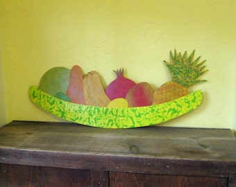 Metal Wall Art Fruit Platter Large Wall Sculpture Kitchen Wall Decor Lime Green Pineapple Pomegranate Mango Tropical Fruit 12 x 24
