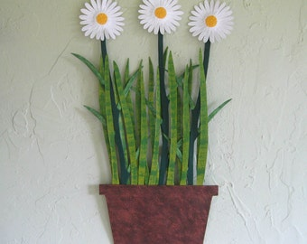 Metal Wall Art Painted Daisies Wall Sculpture Recycled Metal Flower Pot Kitchen Wall Decor Custom Flowers White Yellow 13 x 21