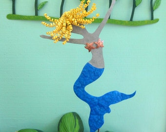 Metal Mermaid Outdoor Art Sculpture Garden Stake Recycled Metal Yard Art  Seaside Beachouse Blonde Mermaid Coastal