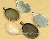50 pcs 22 x 30mm Oval Pendant Trays 2 with 50 Glass Oval Cabochons Antique Copper, Antique Bronze, Antique Silver and Silver, Blank Setting
