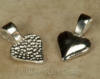 200 Small Silver Plated Heart Bails (07-06-310)