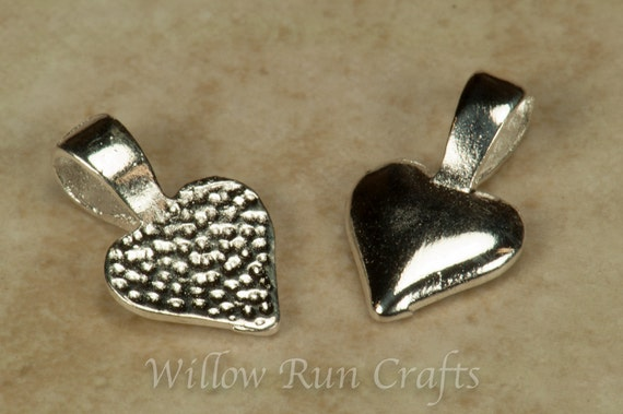 50 Small Silver Plated Heart Necklace Bails (07-06-310)