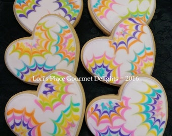 Heart Cookies - Heart Wedding Cookies - Tye Dye Heart Cookies - 12 Cookies
