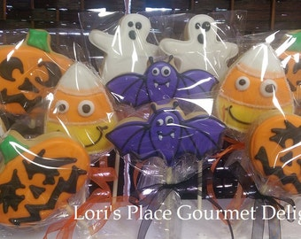 Halloween Cookies - Halloween Cookie Pops - Ghost - Jack O Lantern - Bat - Candy Corn - Skeleton - 12 Cookie Pops