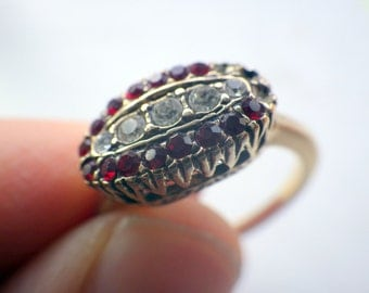 Ruby/Diamond Vintage Ring - Faux Gold Tone - As Is - Size 9.25.