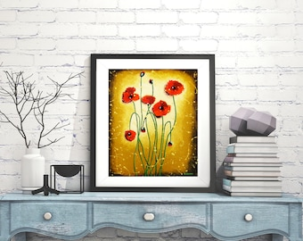 """Red Poppy Print Spring Decor, Red Poppies Wall Art, Rustic Wall Decor Flower Art, Red Flowers, Red Decor Nature Art 12""""x14"""""""
