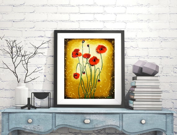 "Red Poppy Print Spring Decor, Red Poppies Wall Art, Rustic Wall Decor Flower Art, Red Flowers, Red Decor Nature Art 12""x14"""