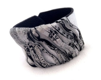 40% OFF Women's wide Leather bracelet Cuff in silver and white color Casual wristband Leather jewelry
