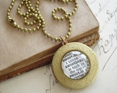 Sweetheart Locket Necklace. Dictionary Necklace. Literary Jewelry. Vintage Round Brass Locket and Chain. Sweet and Shabby Eco Friendly Gift.