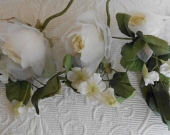 White Poly Chiffon Roses