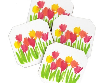 Bright Tulips Coaster Set