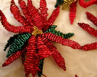 8 red and green pointsettias  beaded flowers on wire