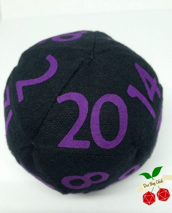 D20 Black and Purple Plushie Small