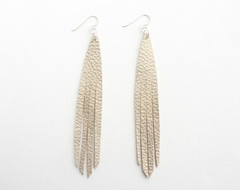 Leather Peacock Lash Earrings - Champagne with Sterling Silver