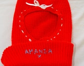 Vintage SKI MASK 1970's red personalized