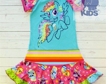 A  dress made out of authentic My Little Pony tshirt super cool funky recycled upcycled  pieced  size 8