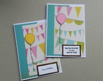 Set of 2 birthday cards - pink & yellow balloons - handmade - stampin up