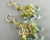BIGGEST SALE EVER Green Chandelier Earrings, Green Amethyst,  Prehnite, Vesuvianite Gold Plated Earrings