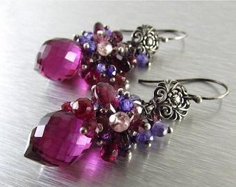 25% Off Summer Sale Spinel, Quartz and Rhodolite  Garnet Cluster Earrings - Gemstone Post Earrings