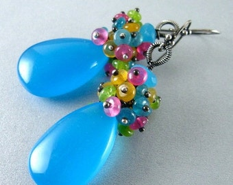 BIGGEST SALE EVER Turquoise Blue Chalcedony and Jade Cluster Sterling Earrings