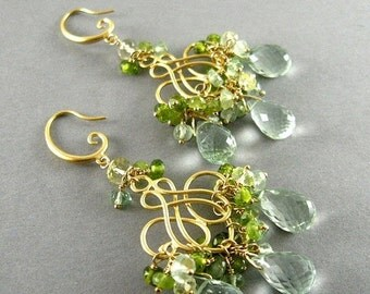 BIGGEST SALE EVER Green Chandelier Earrings, Green Amethyst,  Prehnite, Vesuvianite Gold Plated Earrings