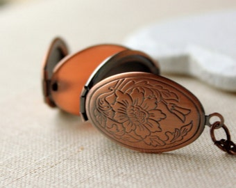 Copper Locket Necklace, multi photo locket, Antiqued copper locket long Chain Necklace secret message locket, four photo folding locket N155