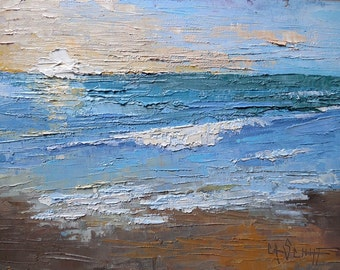 "Seascape Painting, Sunrise Painting, Small Oil Painting, Textured Seascape Painting, 6x8"" Oil on Panel"