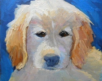 "Dog Painting, Golden Retriever Portrait, Puppy Painting, Daily Painting by Carolschiff Studio, 8x8x1.5"" canvas"