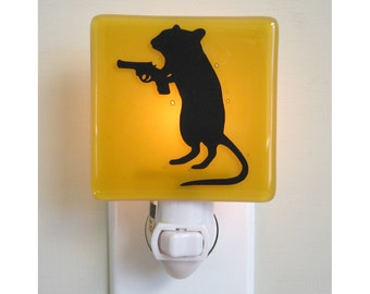 Funny Night Light, Gerbil With a Gun, Hand Painted Fused Glass  Ask a question