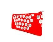 Marimekko Pouch, Puketti bouquet Pouch, Zipper Pouch, Small Pouch, Cute Pouch, Fabric Marimekko Pouch, Small Flowers in White on Red