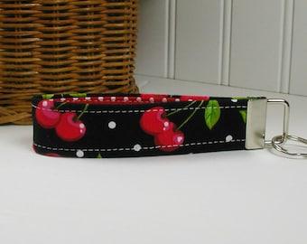 Key Fob Wristlet, Keychain, Fabric Key Fob ..Cherries in Black