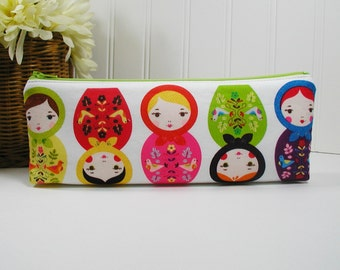 Matryoshka Doll Long Zipper Pouch, Long Zipper Pouch, Pencil Pouch.. Little Kukla in Bright