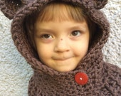 Toddler Crocheted Hooded Cowl with ears HC/9/15