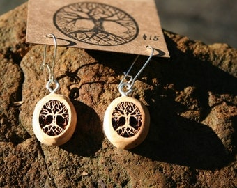 Wood Earrings- Small  Tree of Life Earrings in Juniper wood