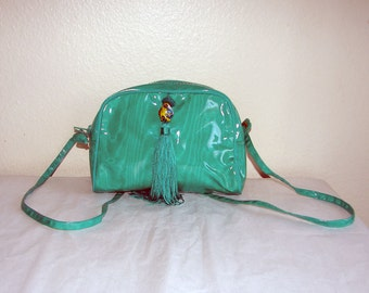 Kelly Green Cross Body Bag with Tassel