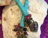 Turquoise tube Drop Heart Earrings