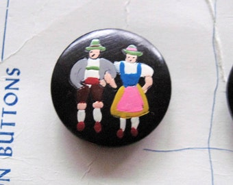 Hand Painted Wood  Buttons