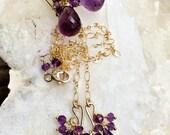 VALENTINES SALE Amethyst Jewelry Set Necklace Earrings Wire Wrap Gemstone Cluster 14kt Gold Fill Purple Amethyst Earrings February Birthston