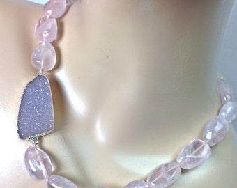 50% OFF SALE Large Druzy Necklace Rose Quartz Chunky Choker Lavender Druzy Pink Necklace Statement Jewelry Raw Gemstone