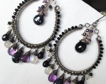 Black Chandelier Earring Luxury Gemstone Black Hoop Earring Oxidized Silver Wire Wrap Statement Amethyst Moonstone Black Spinel Boho Chic