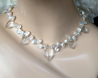 Wedding Necklace Carve Leaf Rock Crystal Keishi Pearl Unique Handmade Choker Statement Necklace Pearl Bridal Necklace Keishi Wedding Jewelry