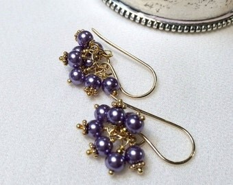 MOTHERS DAY SALE Lavender Pearl Cluster Earrings 14kt Gold Fill Wire Wrap Petite Lavender Cluster Wedding Earring Bridesmaid Flower Girl Lav
