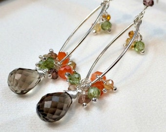 Silver Hoop Earrings Wire Wrap Gem Dangle Multicolor Stone Cluster Sterling Silver Garnet Citrine, Smokey Quartz Carnelian, Olive Green