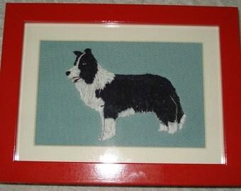Border Collie Dog Portrait Embroidered, Framed