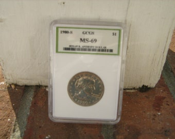 1980-S Susan B. Anthony dollar graded MS- 69 BY GCGS
