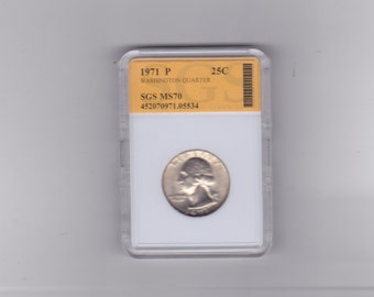 1971 P  Washington quarter graded MS 70  BY S.G.S.
