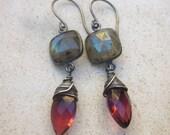 Labradorite earrings, quartz earrings, gemstone earrings, wire wrapped earrings, oxidized sterling silver dangle earrings bohemian modern
