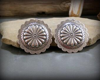 Large Concho Earrings, Southwest Earrings, Bohemian Earrings, Southwestern Style, Cowgirl Fashion, Tribal Earrings, Round Silver Earrings