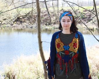 handmade boho vest, crochet top, cotton, flowers, bohemian hippie style